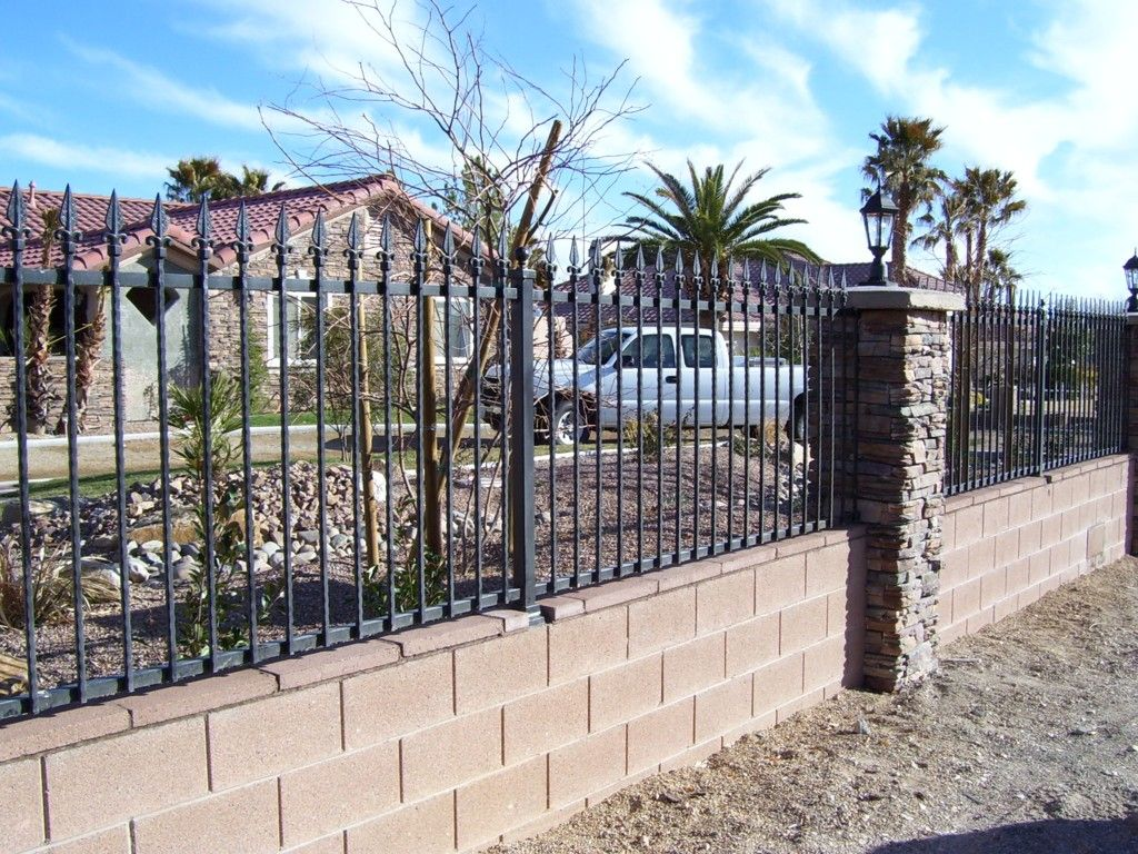 Block Wall And Wrought Iron Fence Mycoffeepot Org