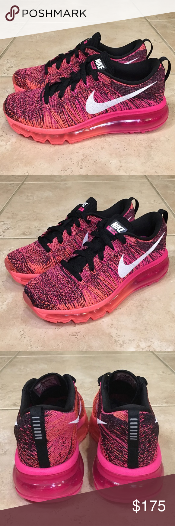 Nike Flyknit Air Max 2015 Pink Lava Running Shoes Brand New
