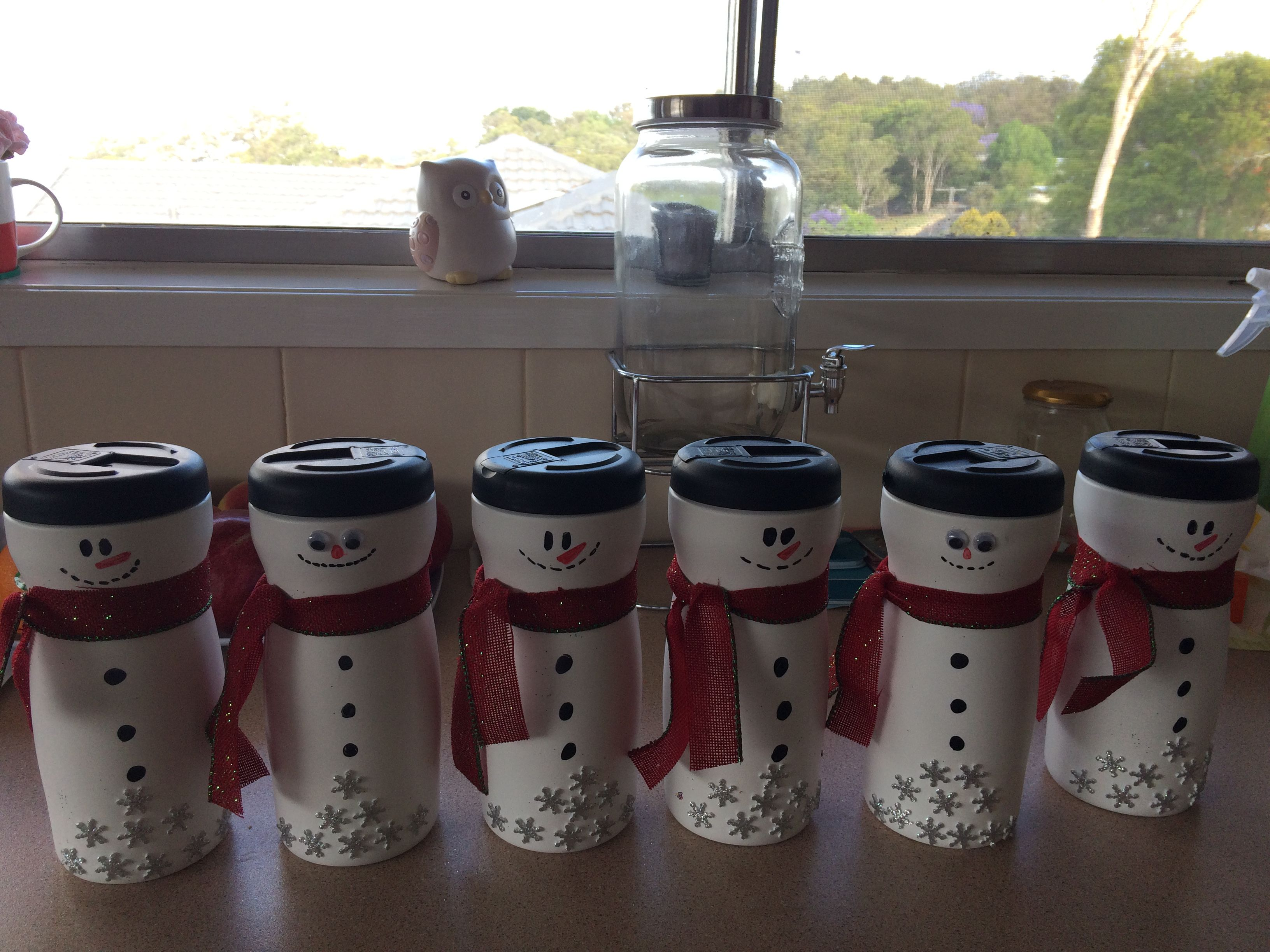 Snow man cookie jars as Christmas gifts made the jars out ...