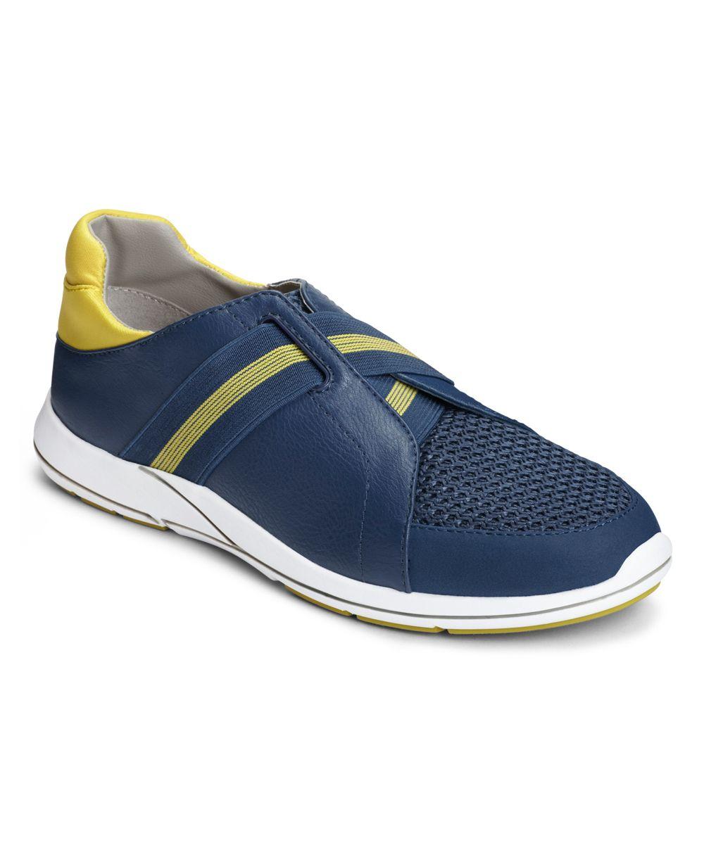 Navy & Yellow Side Track Walking Shoe