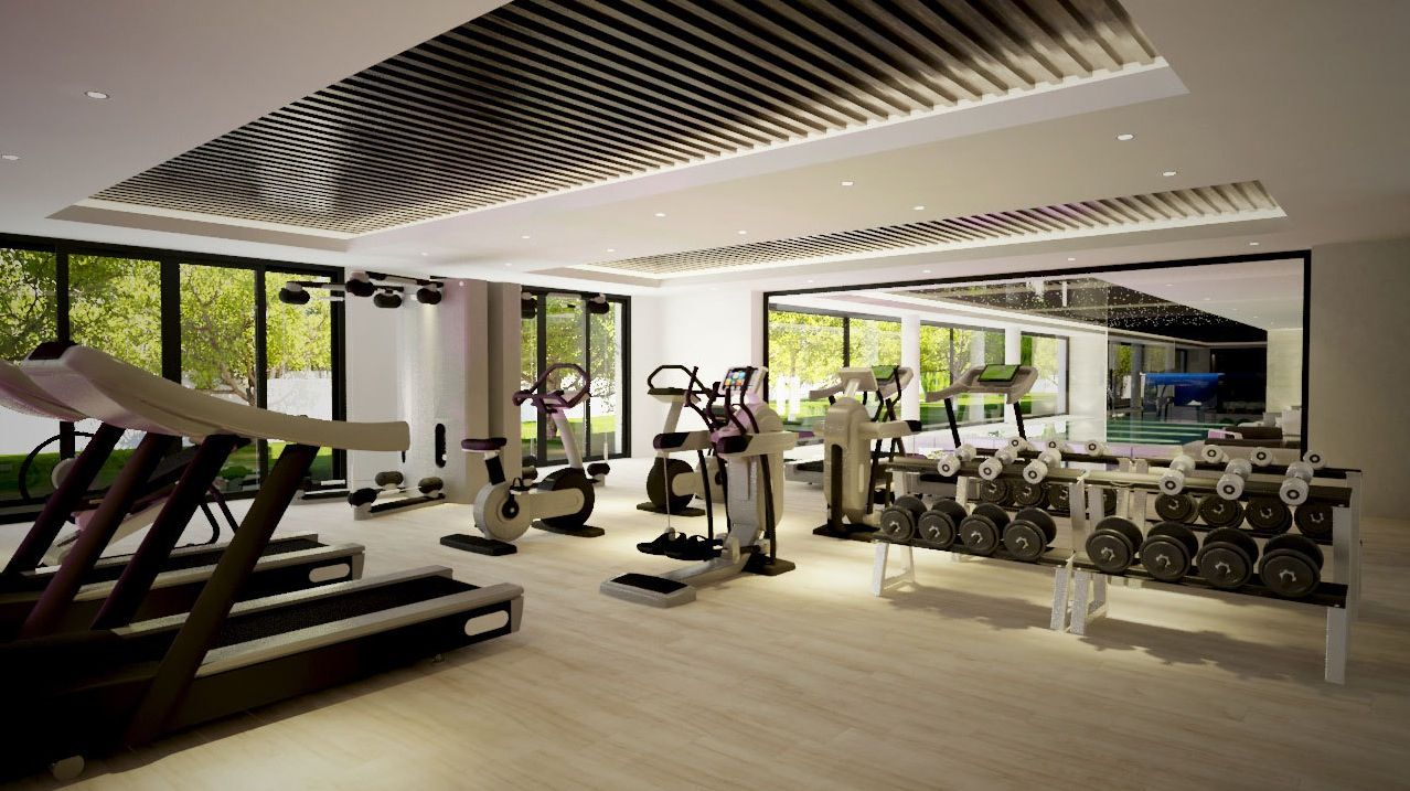 Comfortable modern gym room design with gray carpet and cream wall