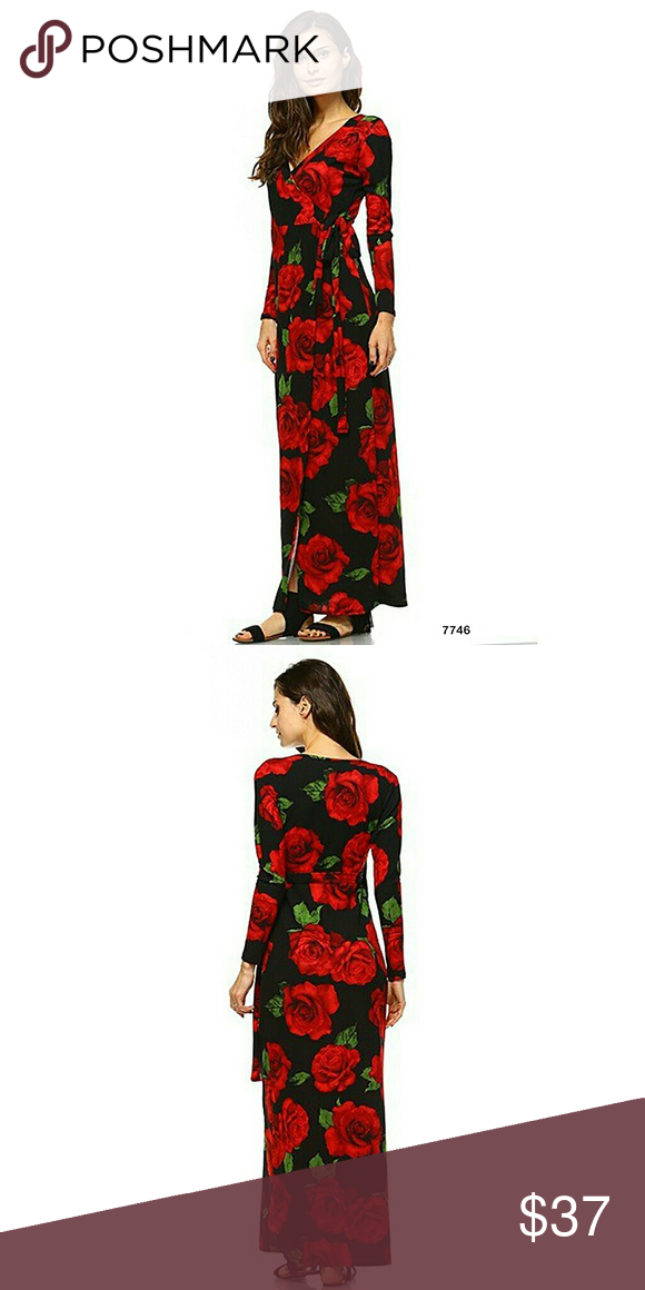 0037772e6c Black Red Roses Long Sleeve Faux Wrap Maxi Dress Black Red Roses Long  Sleeve Faux Wrap Maxi Dress made of polyester strecth material Dresses Maxi
