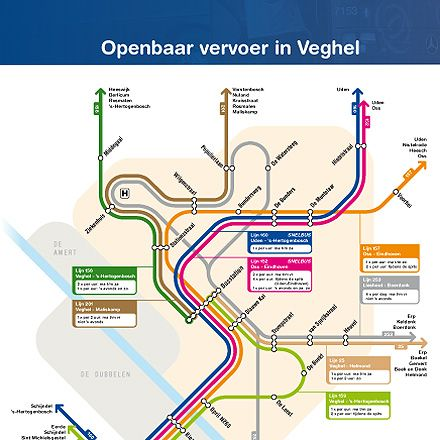 map dutch bus lines in the town of veghel