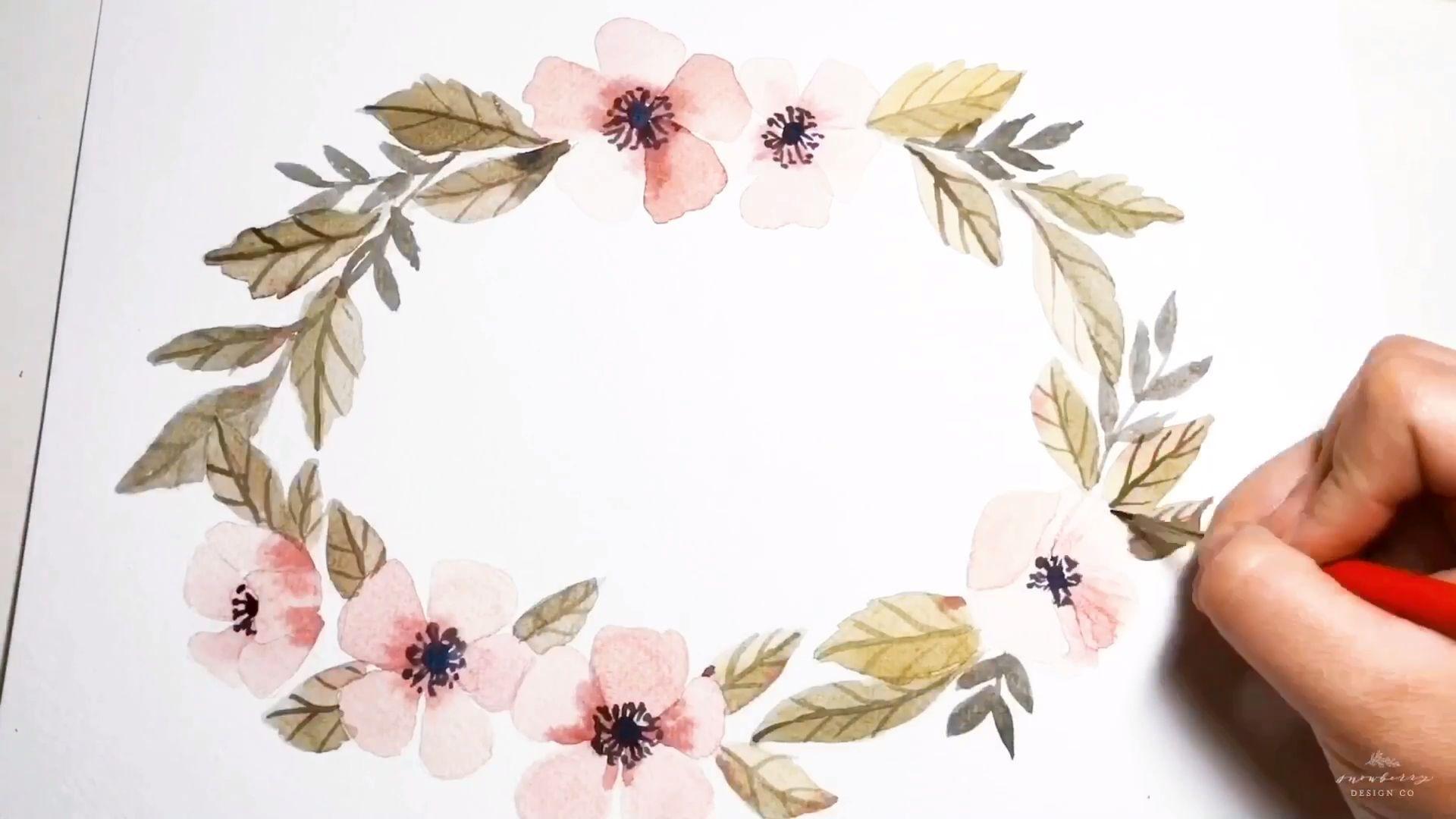 Oval Anemone Wreath Watercolor Tutorial In 2020 Watercolor