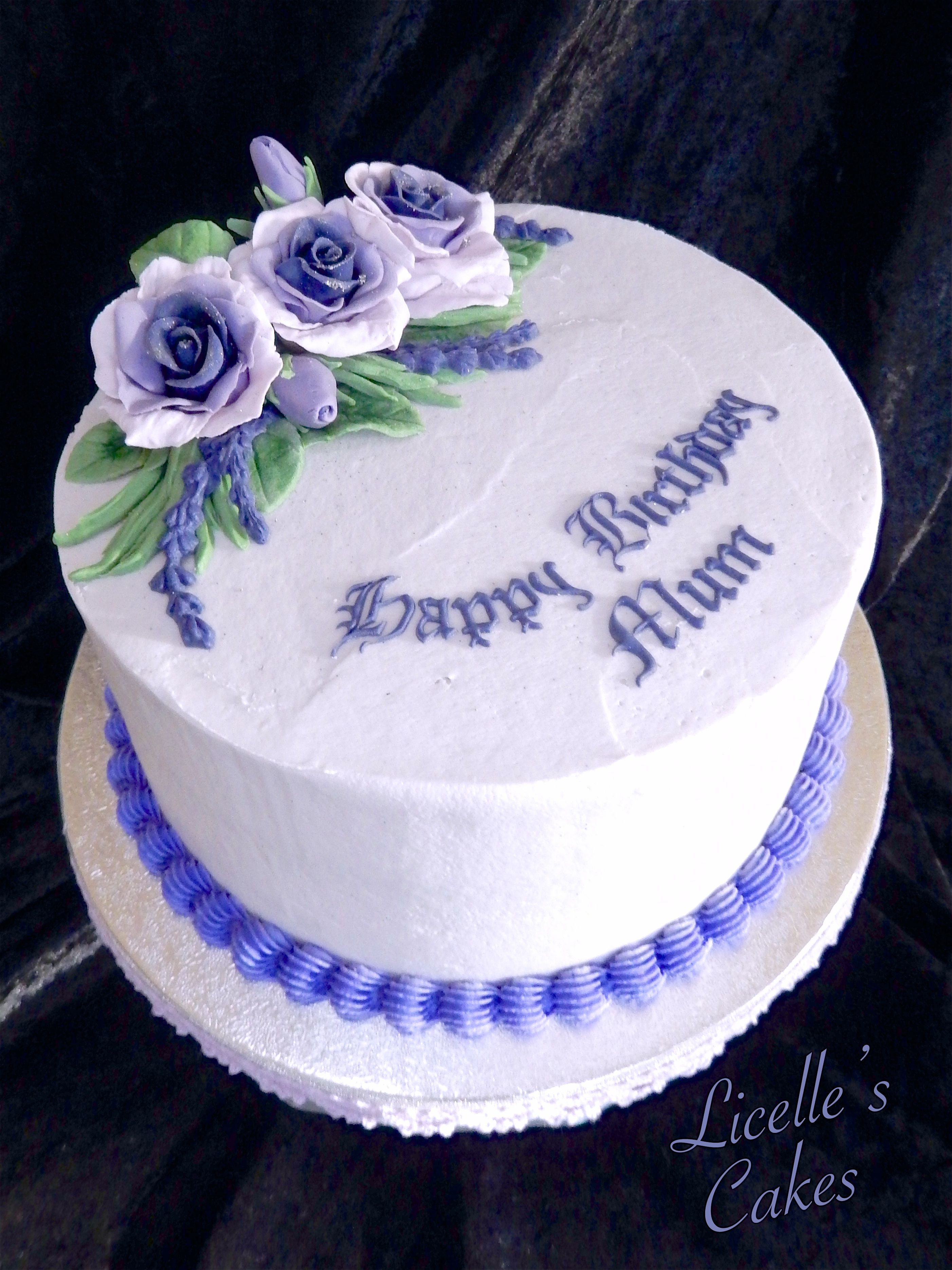 Purple Buttercream Cake With Handmade Fondant Roses And