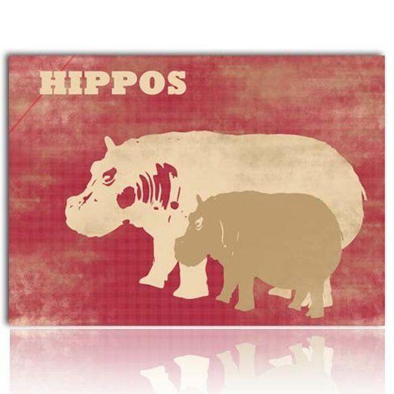 Hippos -  Kids Art Prints,  hippopotamus, nursery decor, baby hippo, mummy hippo, hippos, nursery de #babyhippo