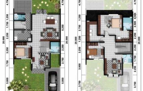 Denah Rumah Minimalis Modern 2 Lantai 2014 Desain Rumah Unik House Floor Plans House Plans Model House Plan