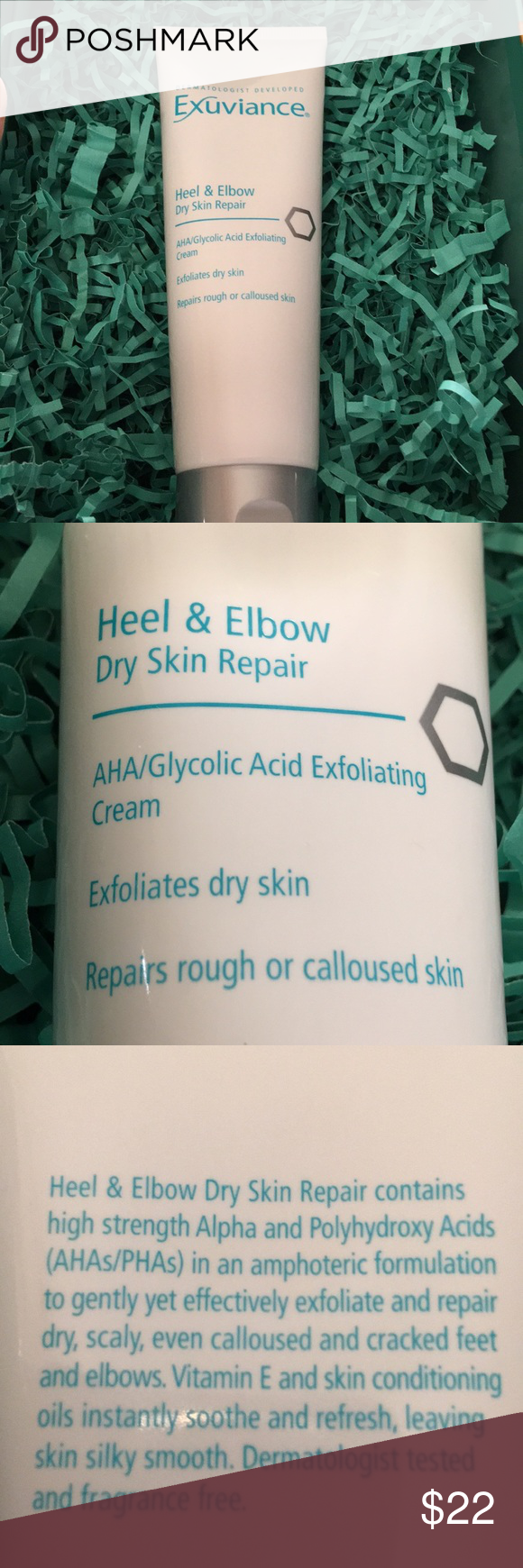 Exuviance Heel & Elbow Dry Skin Repair Has been tried, still full.   Exuviance Heel and Elbow Dry Skin Repair gently yet effectively exfoliates and repairs dry, scaly, calloused and cracked skin with high strength Alpha and Poly Hydroxy Acids (AHAs/PHAs) in an amphoteric formulation. Vitamin E and skin conditioning oils instantly soothe and refresh. Feet are pedicure-perfect and sandal-ready while elbows are skin that's smooth as silk and ready for short sleeves. Dermatologist tested and fragrance free. Exuviance Other #crackedskinonheels