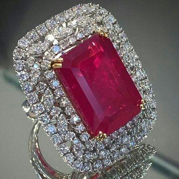 Remalfala Impressive Burma Ruby And Diamonds Ring Biggest Ruby