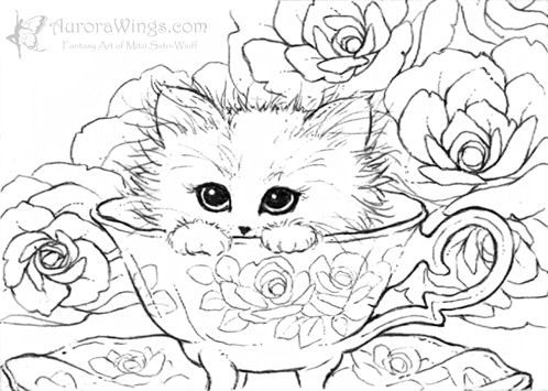 Kitten In A Teacup By Mitzi Sato Wiuff Coloring Pages Colouring