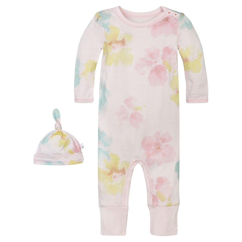 Burts Bees Baby Girl Coveral And Hat Pink Size 6-9 M
