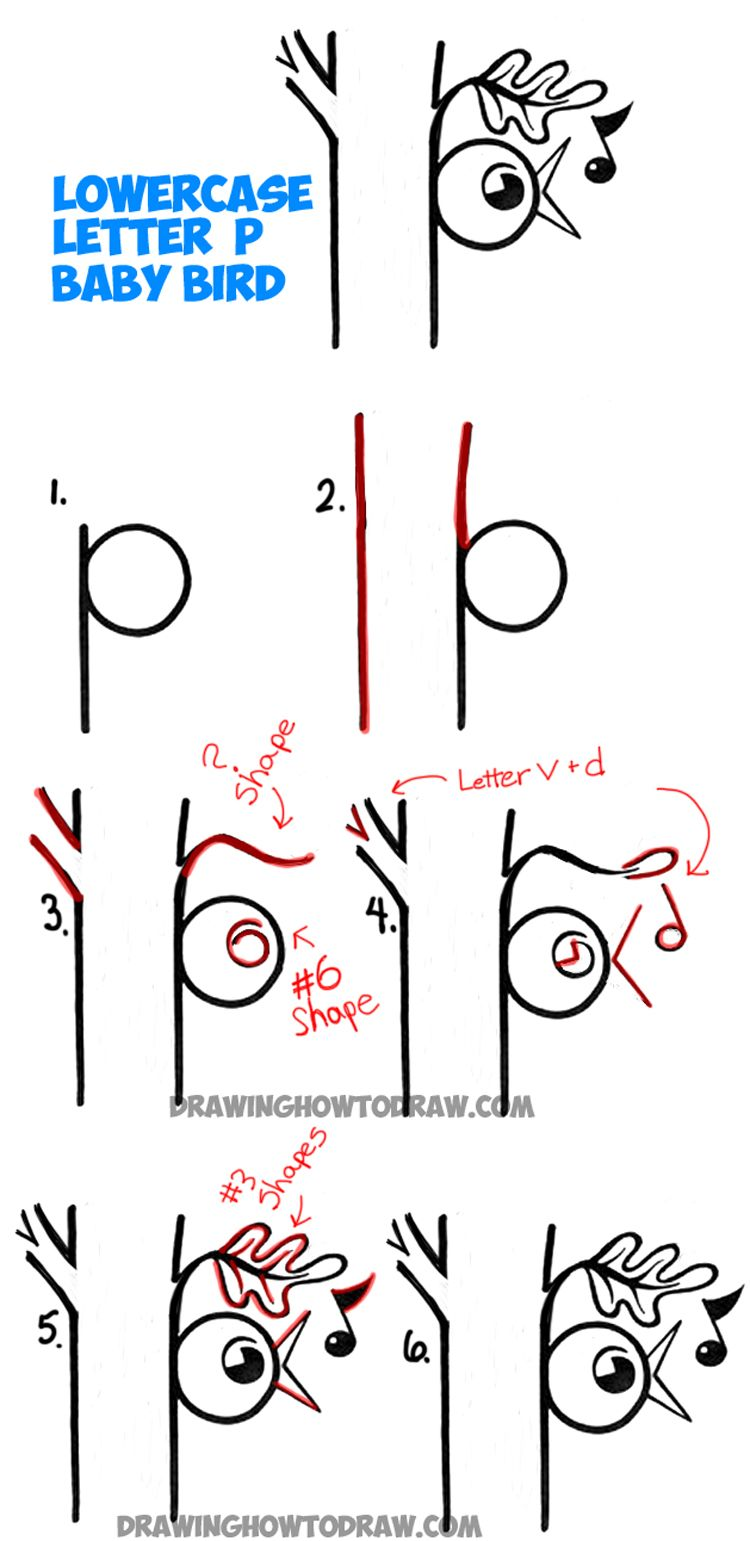 How to Draw Baby Bird Singing in Tree from the Letter P