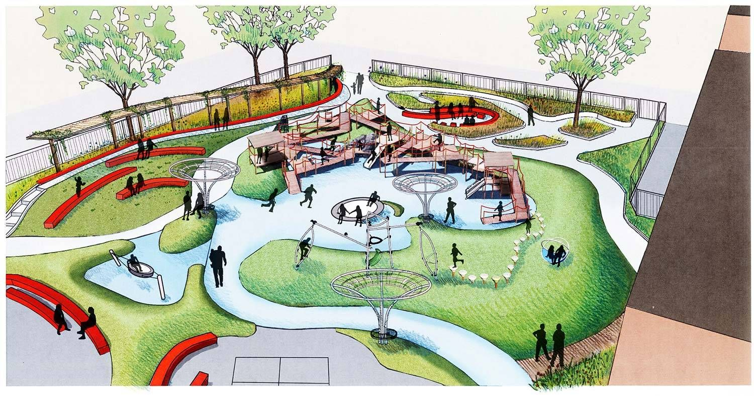 Oak park irving elementary school schoolyard chicago for Park landscape design