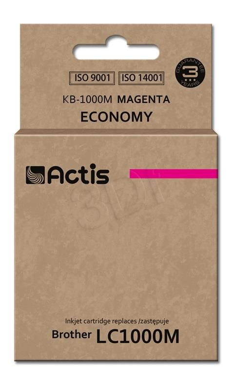TUSZ ACTIS KB-1000M (DO DRUKARKI BROTHER, ZAMIENNIK LC1000M / LC970M STANDARD 35ML MAGENTA)