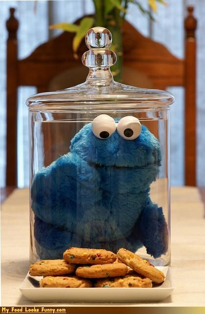 How To Decorate A Cookie Jar Funny Food Photos  Cookie Monster In Cookie Jar  Table