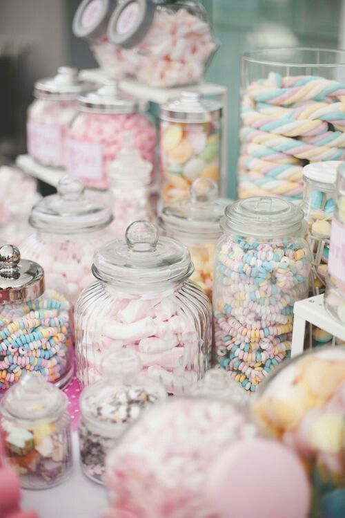 next theme the candy shop in pastel hues parties candy bar rh pinterest com pastel rainbow candy buffet pastel green candy buffet