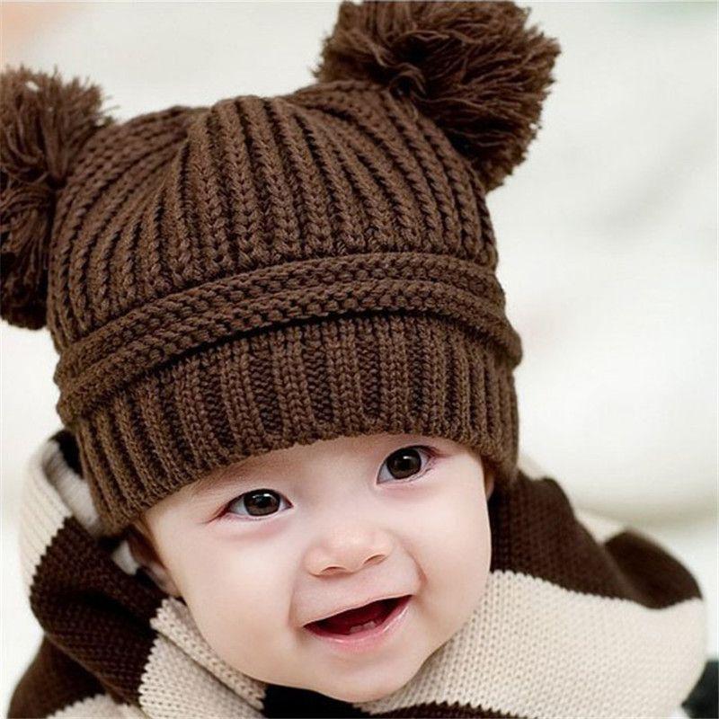 0343784d7 Cheap Cute Baby Kids Niña Niño Bolas de Doble Caliente Del Invierno Gorro  de Punto Sombrero de la gorrita tejida Recién Nacido Prop Traje Tocado  Tamaño ...