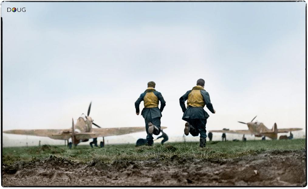 """Scramble!"" RCAF pilots race to waiting Hawker Hurricane"