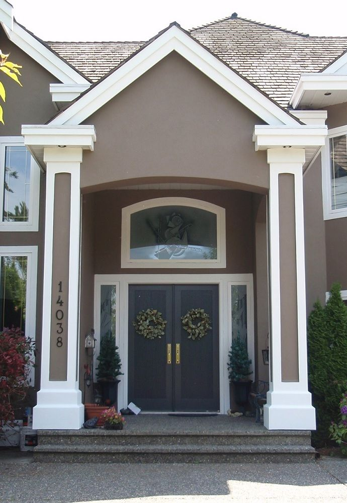 Putty White With Slate Blue Door Exterior Color Schemes Paint Colors For House