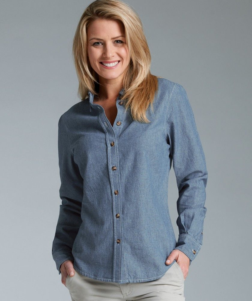 blue chambray shirt women | Home / Women's Button Down Collar ...