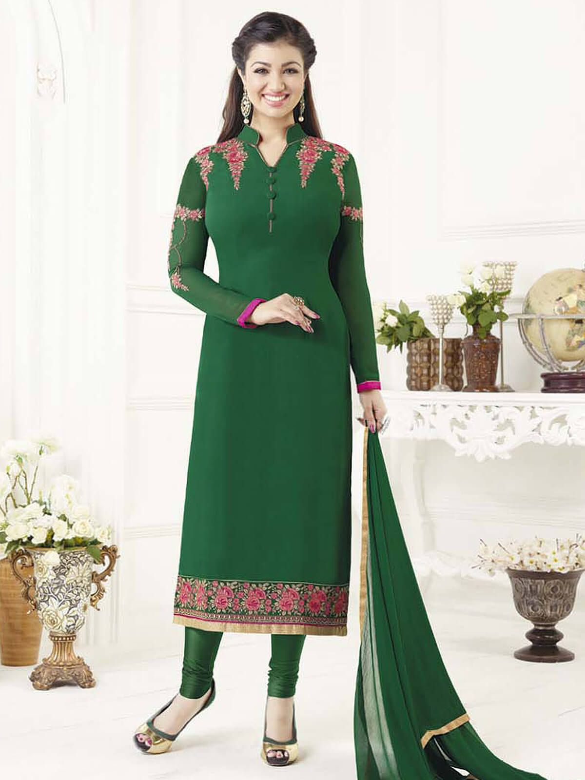Amazing green georgette ceremonial wear designer salwar suit having
