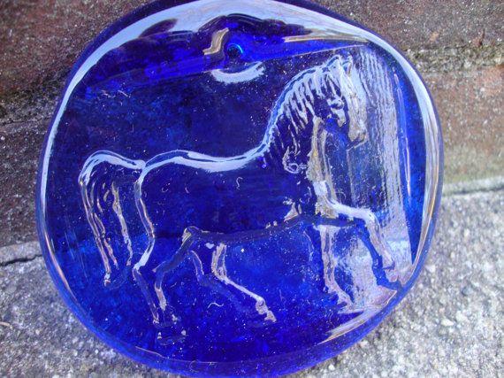 Vintage Thick Cobalt Blue Glass Horse Suncatcher by Onebluenote