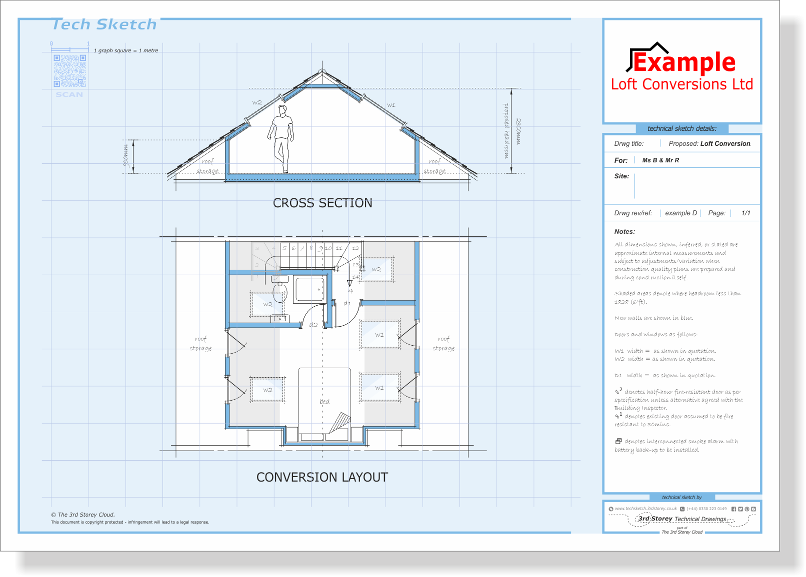 Tech Sketch A3 Size Showing Layout Plan Cross Section Loft Conversion Loft Conversion Velux Windows Roof Extension
