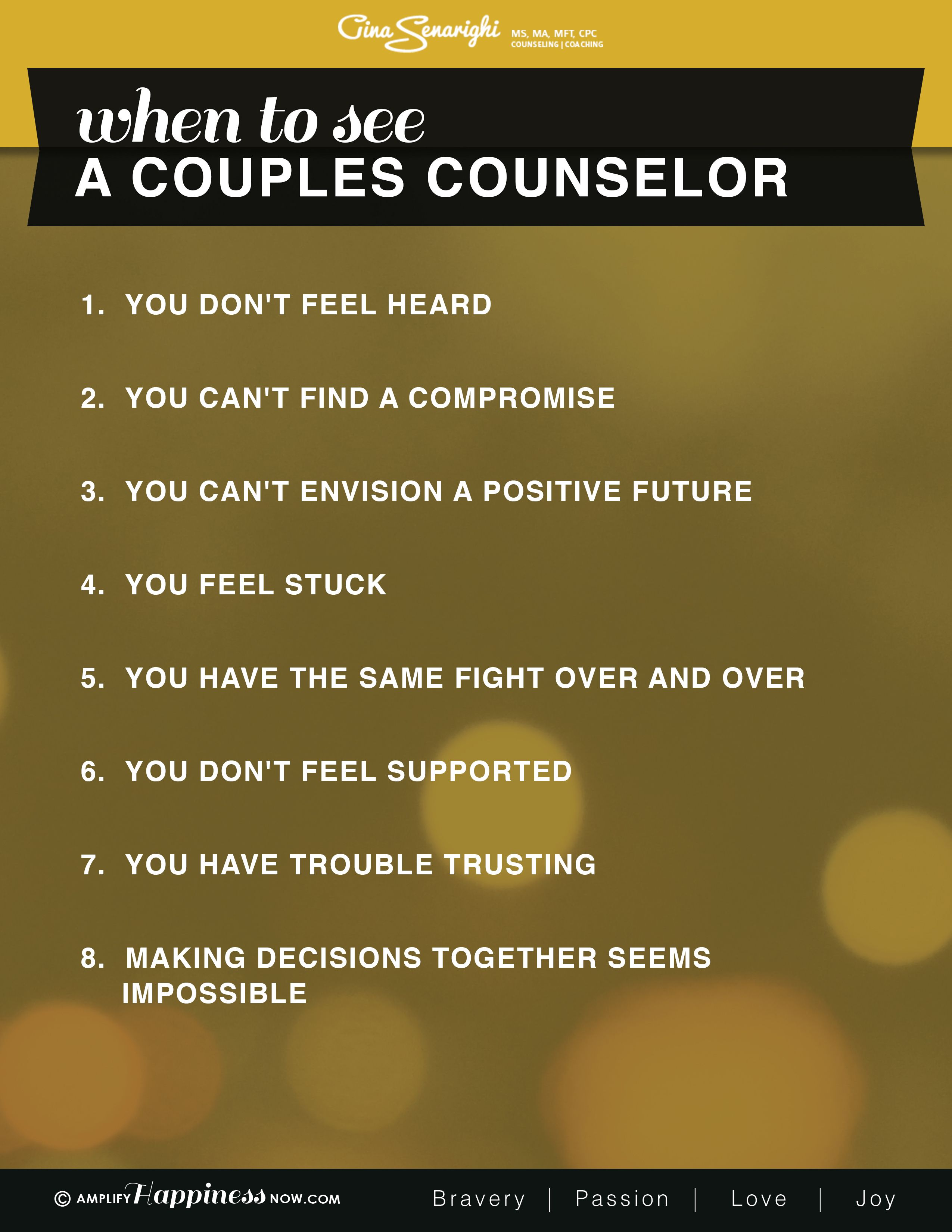 When To See A Couples Therapist Marriage Relationships