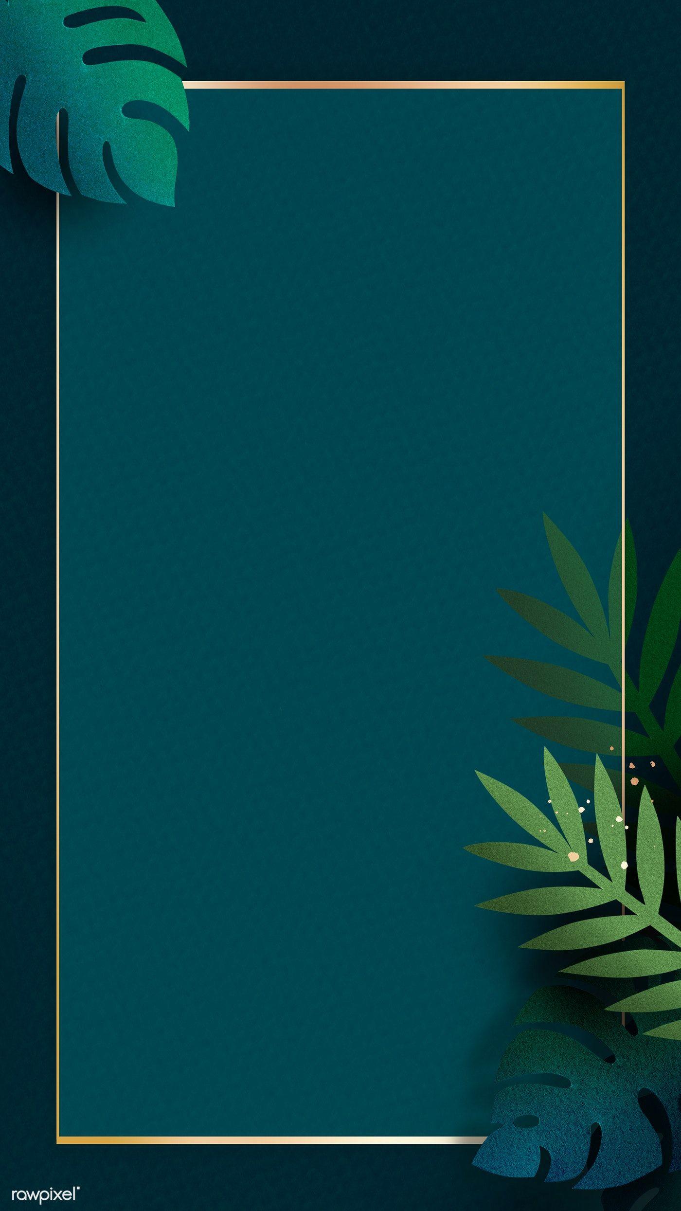 Download Premium Illustration Of Leafy Rectangle Golden Frame Mobile Phone Premium Illustration Golden Frame Phone Wallpaper