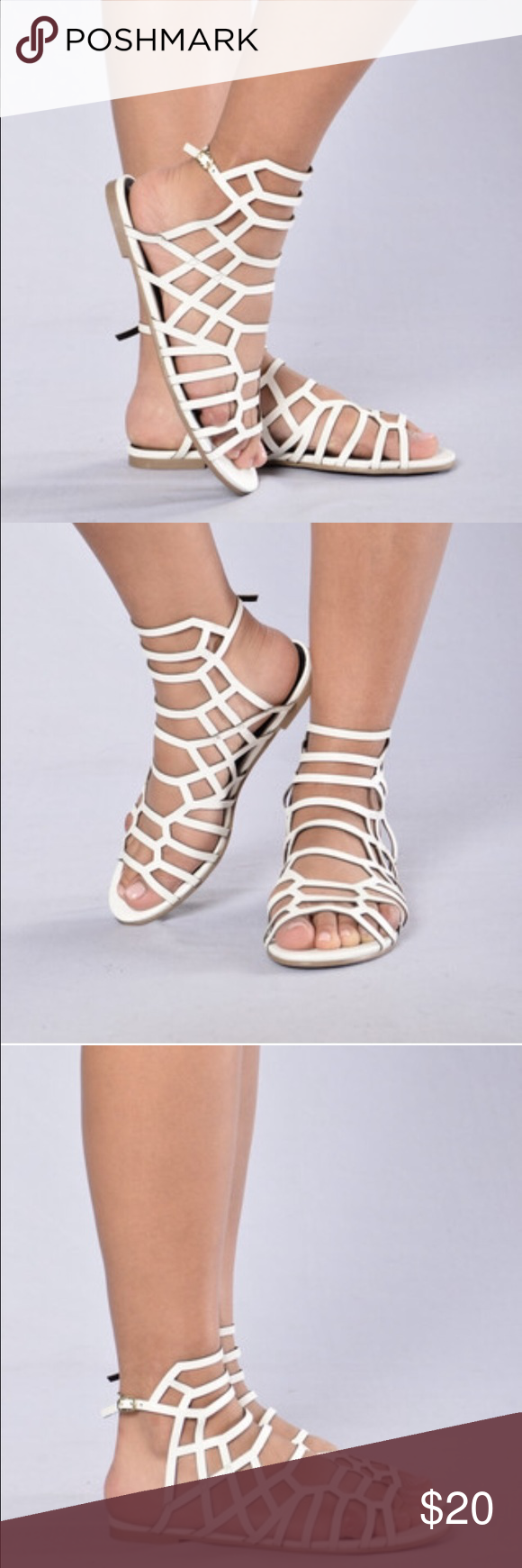 White Strappy Sandals Never worn only tried on. Hook around ankle size 9. Fashion Nova Shoes Sandals