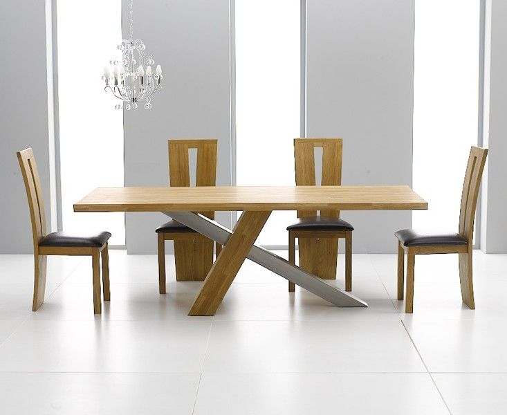 Chateau 225cm Solid Oak And Metal Dining Table With Montreal Chairs Contemporaryfurniture