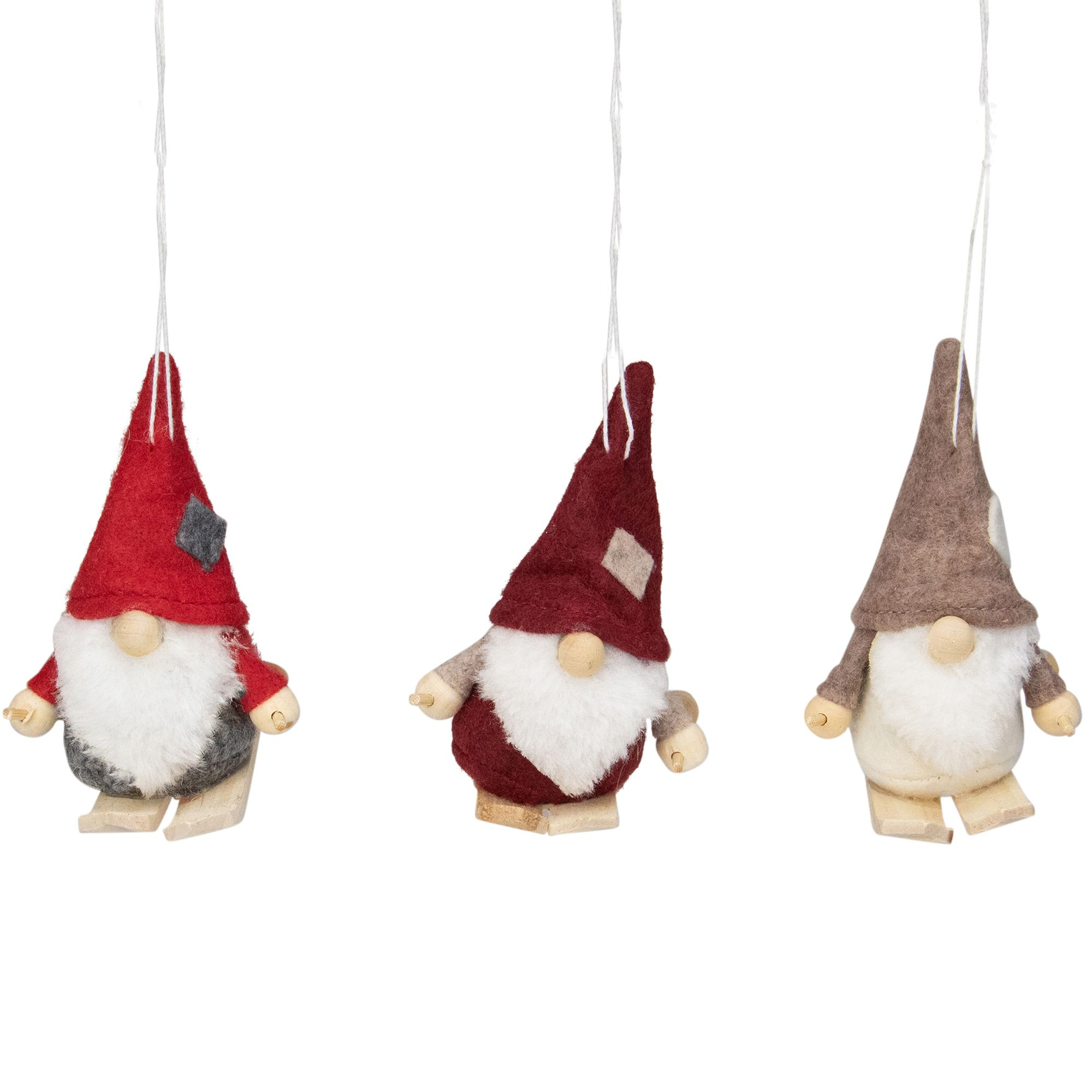 Set Of 3 Red And Gray Skiing Gnome Christmas Ornaments 4 Handmade Christmas Decorations Diy Felt Christmas Tree Christmas Ornaments