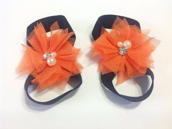 SALE halloween barefoot baby sandals black by GlitterNPinkBoutique, $5.80