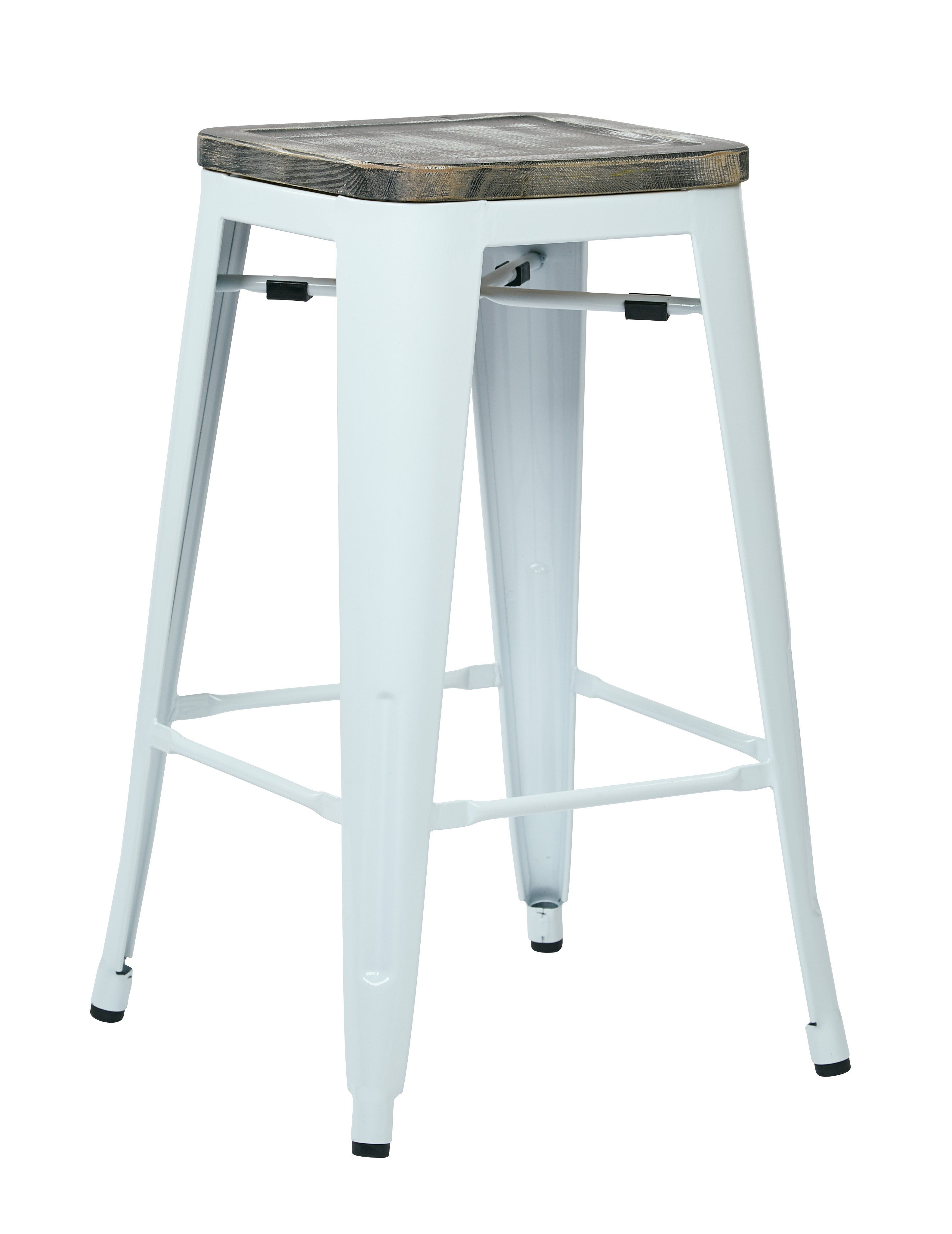 Office Star White Ash Crazy Horse Bristow 26 Metal Barstool With