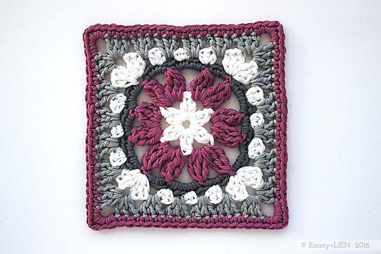 Cuadrado de la abuelita Anemone   patrón de crochet libre por Emmy + ...