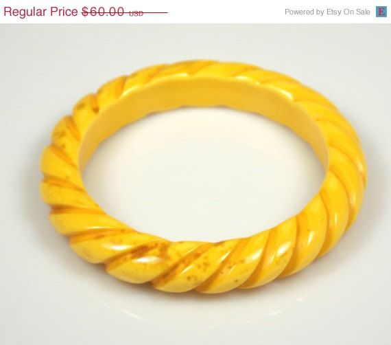 CIJ Sale Vintage Yellow Marbled Lucite Rope by TheFashionDen
