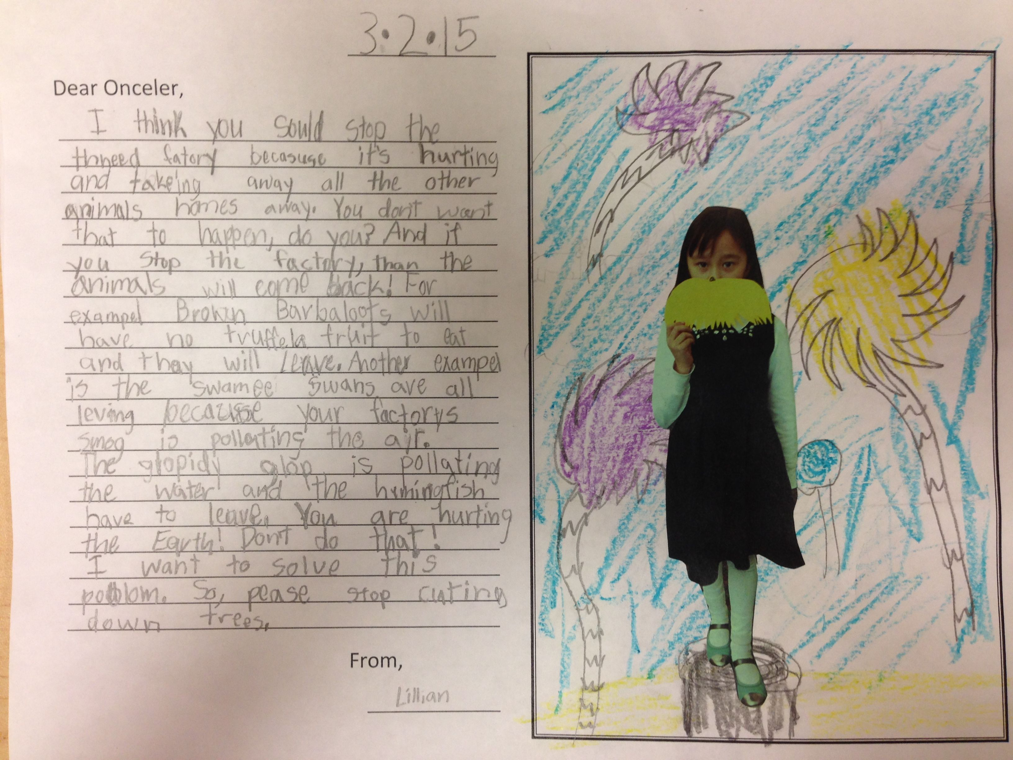 Second Grade Persuasive Writing We Read The Lorax And