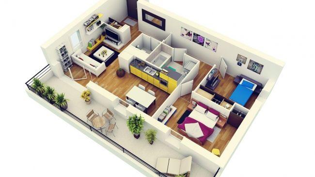50 Plans 3D d\u0027appartement avec 2 chambres plans Pinterest 3d - plan maison avec appartement