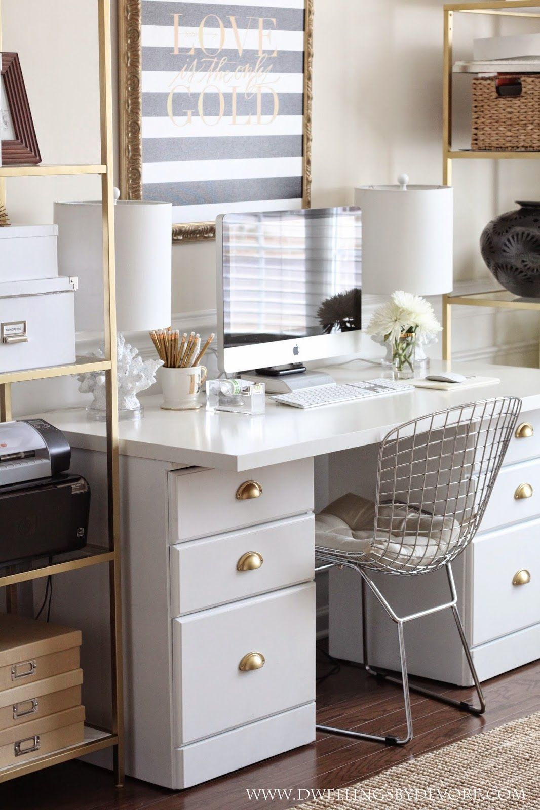 White, Black, & Gold Office. Modern Office Decor.Discover More Home Office Decor Ideas: Www