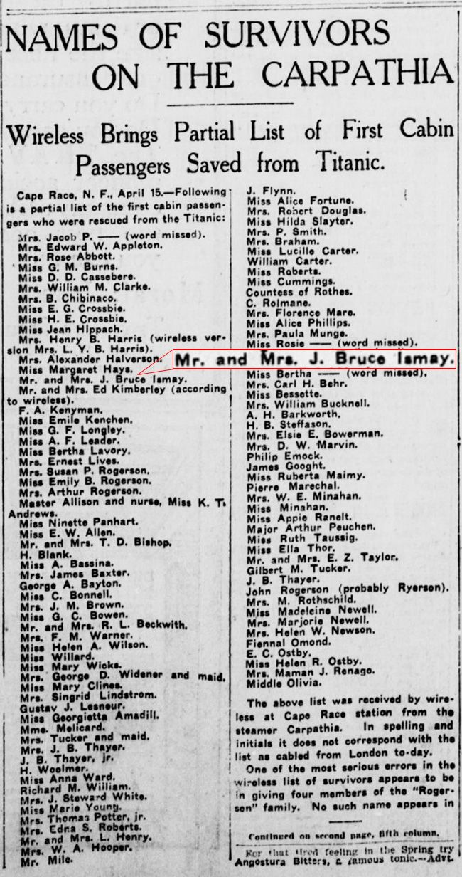 J Bruce Ismay And His Wife S Names Appear On An Early Survivor List New York Titanic Survivors Titanic Titanic Ship