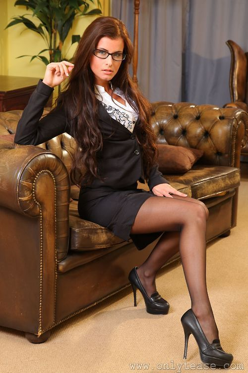 Black Skirt Suit Sheer Black Pantyhose and Black High ...