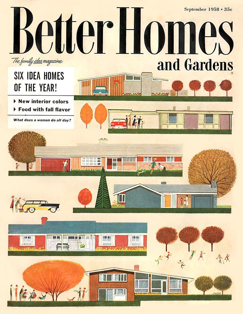 vintage 50's better homes and gardens, mid century architecture