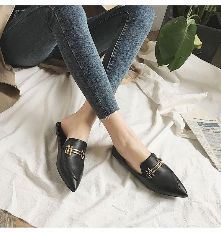 86cee8f79355 Korean fashion flat shoes women spring autumn new pointed toe sexy vintage black  casual shoes slip on pu leather female shoes