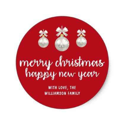 personalized red and white merry christmas classic round sticker christmas stickers xmas eve custom holiday merry christmas - Merry Christmas Stickers