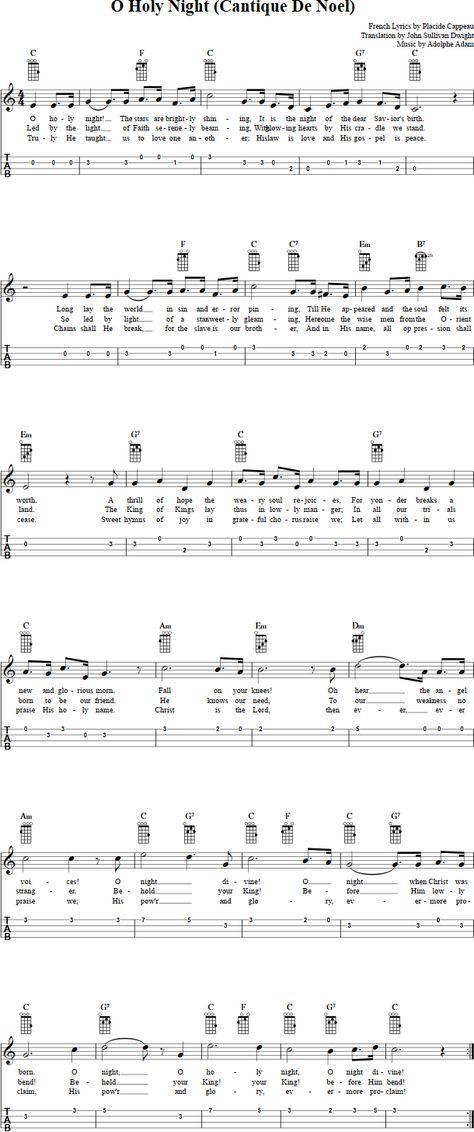 O Holy Night Ukulele Sheet Music Ukulele Pinterest Holy Night