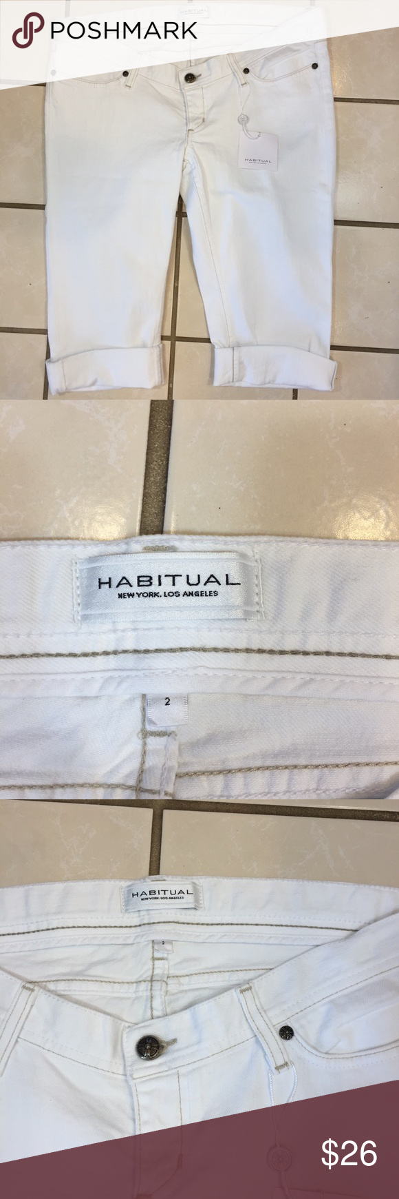 Capri Denim Jeans Habitual New Shorts Tags With Cuffed White 31 mNwOn80v