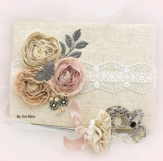 ***Made Upon Request- This guest book and pen set can be made in ANY color scheme   This set is absolutely stunning. Made with the finest linen (feels
