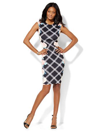Shop Midi Sheath Dress - Floral/Linear Print . Find your perfect size online at the best price at New York & Company.