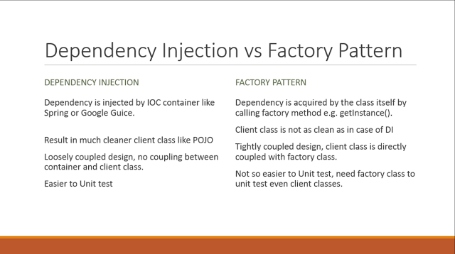 Difference Between Dependency Injection And Factory Pattern In