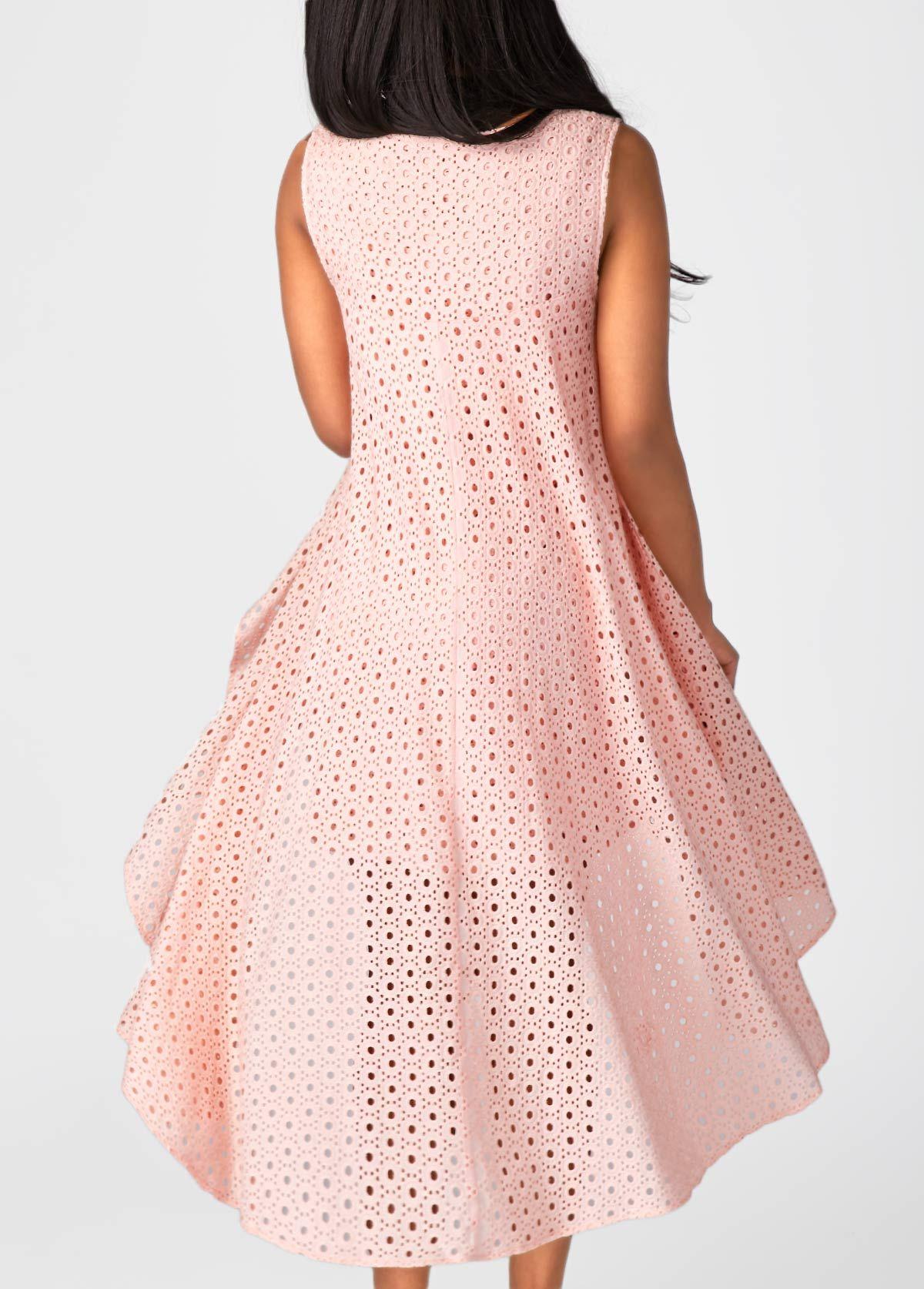 Pink Sleeveless Asymmetric Hem Pierced Tunic Dress   verao ...